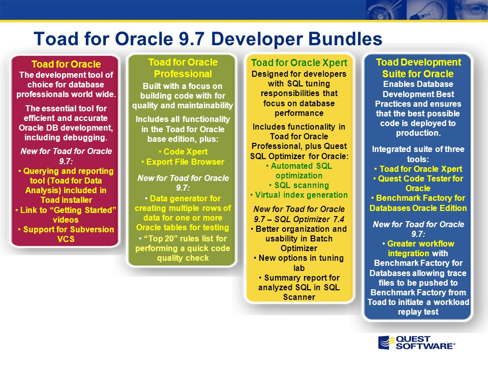 Toad for Oracle 9.7 Developer Bundles Toad for Oracle The development tool of choice for database professionals world wide. The essential tool for eff