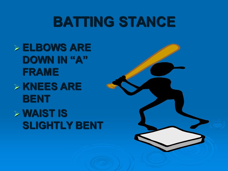BATTING GRIP  GRIP AS THOUGH YOU WERE CHOPPING WOOD  FIRM GRIP BUT DO NOT LET BAT REST ON PALMS  ALIGN KNUCKLES