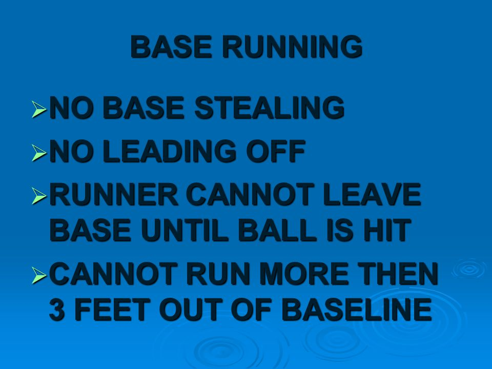 A PLAYER IS OUT WHEN:  HE HAS THREE STRIKES  A FLY BALL IS CAUGHT (FOUL OR FAIR)  TAGGED OUT BEFORE REACHING BASE
