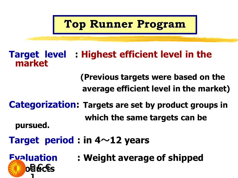 Top Runner Program Target level : Highest efficient level in the market (Previous targets were based on the average efficient level in the market) Categorization: Targets are set by product groups in which the same targets can be pursued.