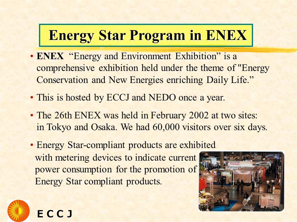 "ECCJ ECCJ Energy Star Program in ENEX ""Energy and Environment Exhibition"" isENEX ""Energy and Environment Exhibition"" is a comprehensive exhibition hel"