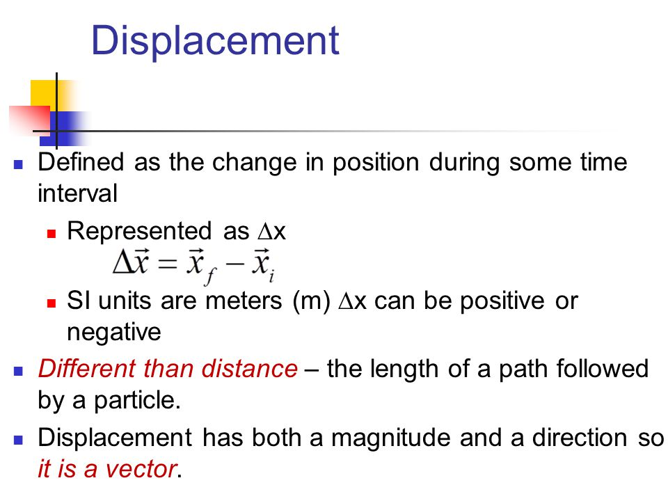 Displacement Defined as the change in position during some time interval Represented as  x SI units are meters (m)  x can be positive or negative Di