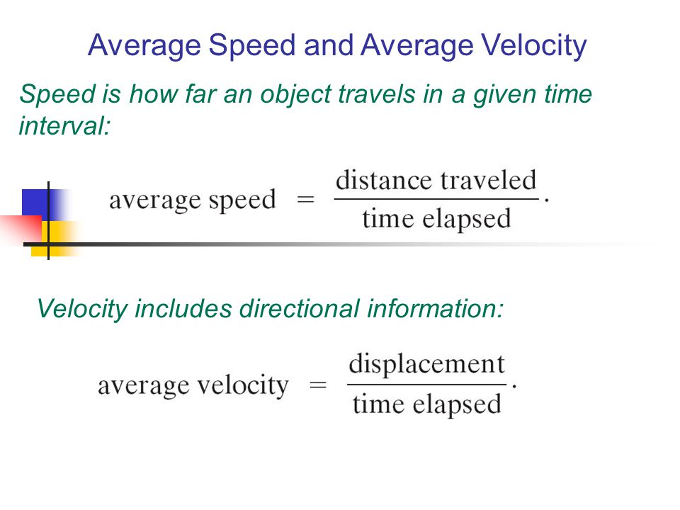 Average Speed and Average Velocity Speed is how far an object travels in a given time interval: Velocity includes directional information: