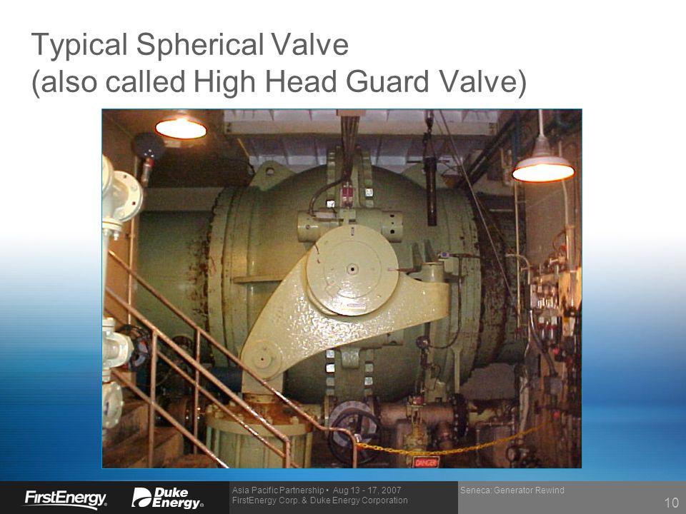 Asia Pacific Partnership Aug 13 - 17, 2007 FirstEnergy Corp. & Duke Energy Corporation Seneca: Generator Rewind Typical Spherical Valve (also called H