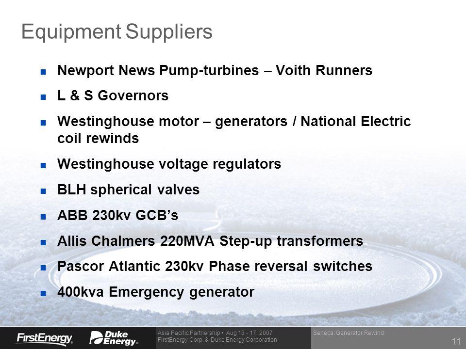 Asia Pacific Partnership Aug 13 - 17, 2007 FirstEnergy Corp. & Duke Energy Corporation Equipment Suppliers n Newport News Pump-turbines – Voith Runner