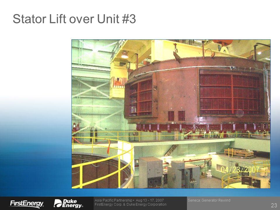 Asia Pacific Partnership Aug 13 - 17, 2007 FirstEnergy Corp. & Duke Energy Corporation Stator Lift over Unit #3 Seneca: Generator Rewind 23
