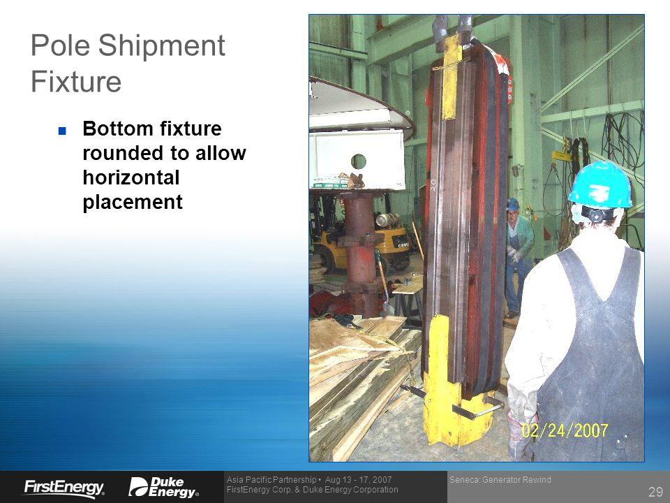 Asia Pacific Partnership Aug 13 - 17, 2007 FirstEnergy Corp. & Duke Energy Corporation Pole Shipment Fixture Seneca: Generator Rewind n Bottom fixture