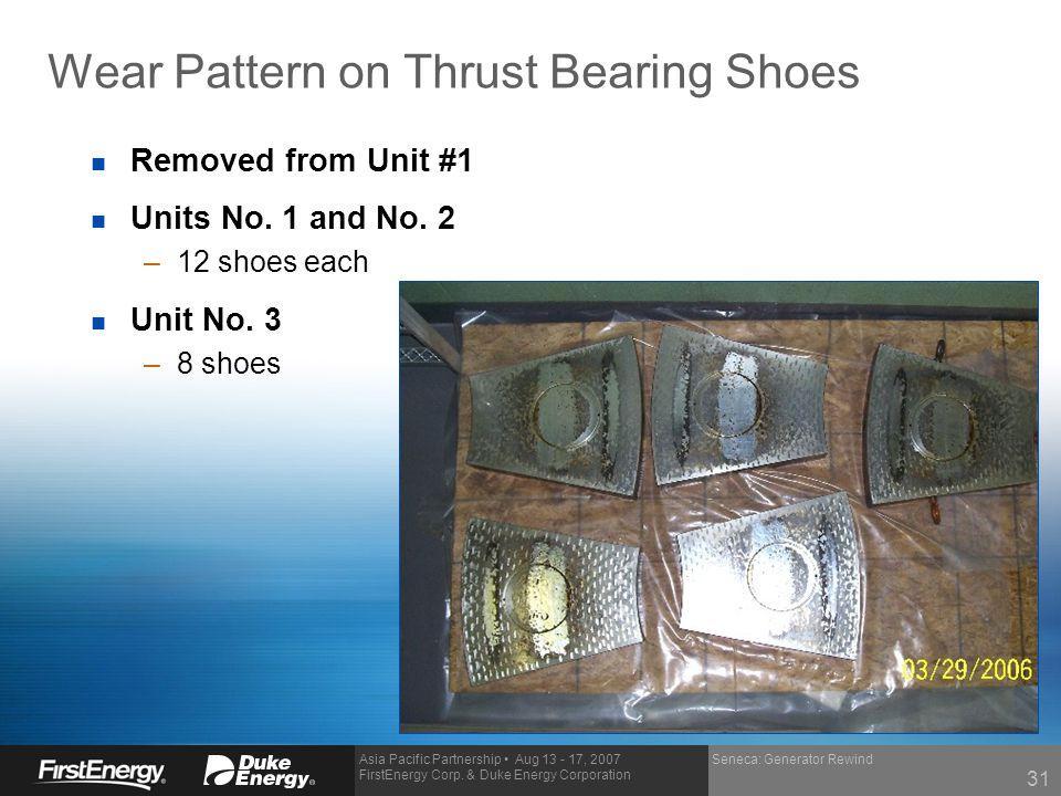 Asia Pacific Partnership Aug 13 - 17, 2007 FirstEnergy Corp. & Duke Energy Corporation Seneca: Generator Rewind Wear Pattern on Thrust Bearing Shoes n