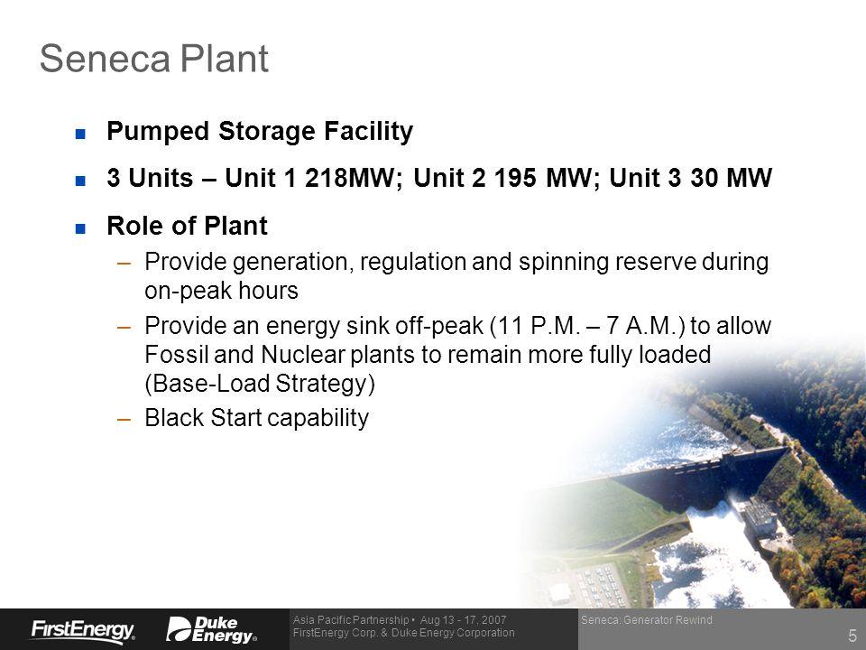Asia Pacific Partnership Aug 13 - 17, 2007 FirstEnergy Corp. & Duke Energy Corporation Seneca: Generator Rewind Seneca Plant n Pumped Storage Facility