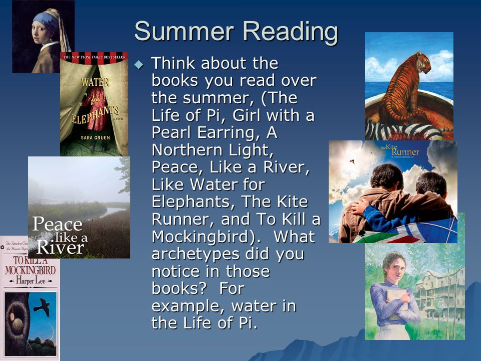 Summer Reading  Think about the books you read over the summer, (The Life of Pi, Girl with a Pearl Earring, A Northern Light, Peace, Like a River, Li