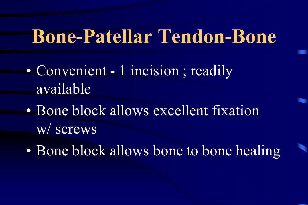 Bone-Patellar Tendon-Bone Convenient - 1 incision ; readily available Bone block allows excellent fixation w/ screws Bone block allows bone to bone healing