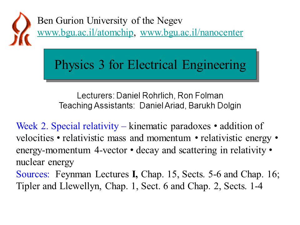 Physics 3 for Electrical Engineering Ben Gurion University of the Negev www.bgu.ac.il/atomchipwww.bgu.ac.il/atomchip, www.bgu.ac.il/nanocenterwww.bgu.ac.il/nanocenter Lecturers: Daniel Rohrlich, Ron Folman Teaching Assistants: Daniel Ariad, Barukh Dolgin Week 2.