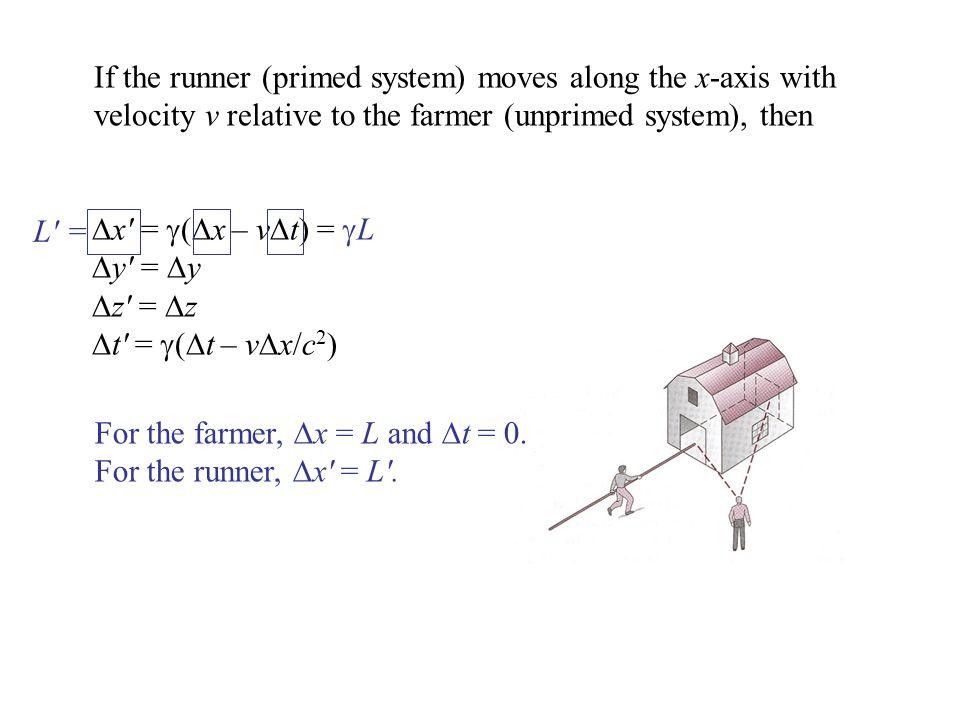  x′ =  (  x – v  t) =  L  y′ =  y  z′ =  z  t′ =  (  t – v  x/c 2 ) For the farmer,  x = L and  t = 0.