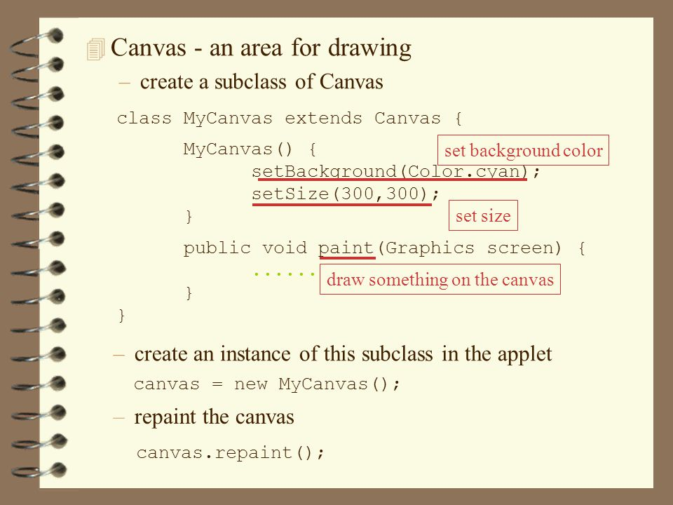 4 Canvas - an area for drawing –create a subclass of Canvas class MyCanvas extends Canvas { MyCanvas() { setBackground(Color.cyan); setSize(300,300); } public void paint(Graphics screen) {......