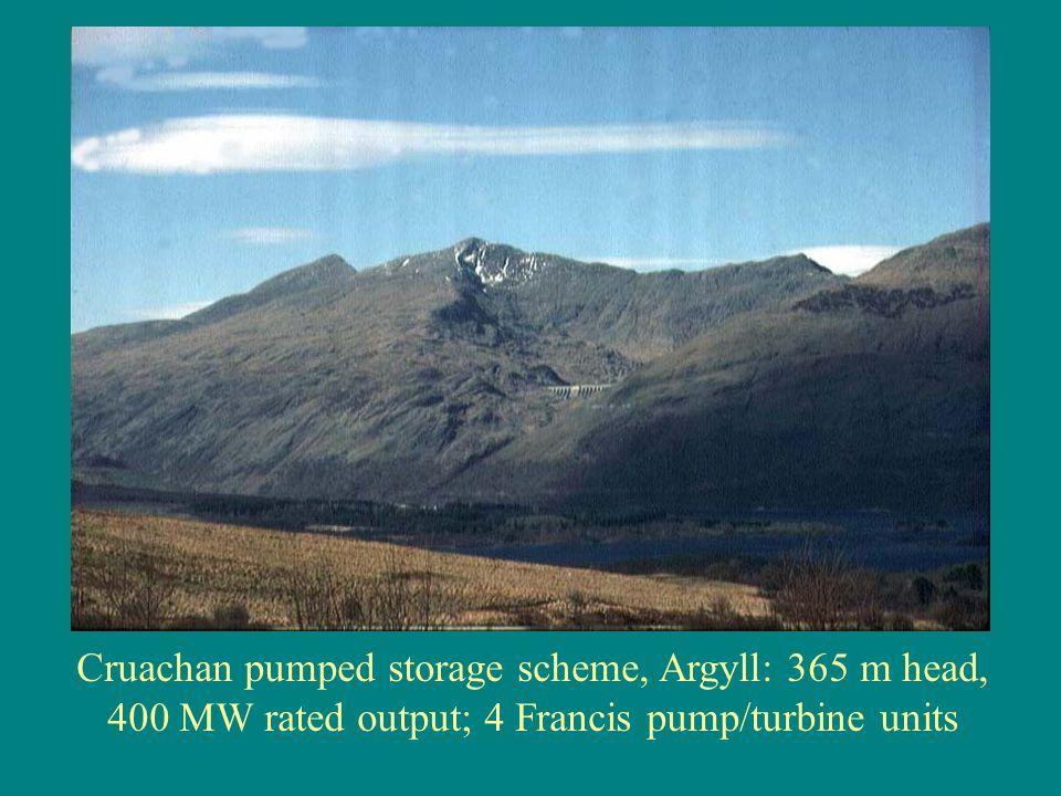 Cruachan pumped storage scheme, Argyll: 365 m head, 400 MW rated output; 4 Francis pump/turbine units