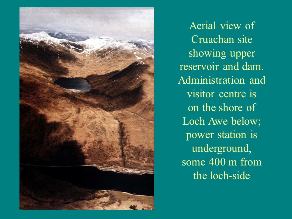 Aerial view of Cruachan site showing upper reservoir and dam.