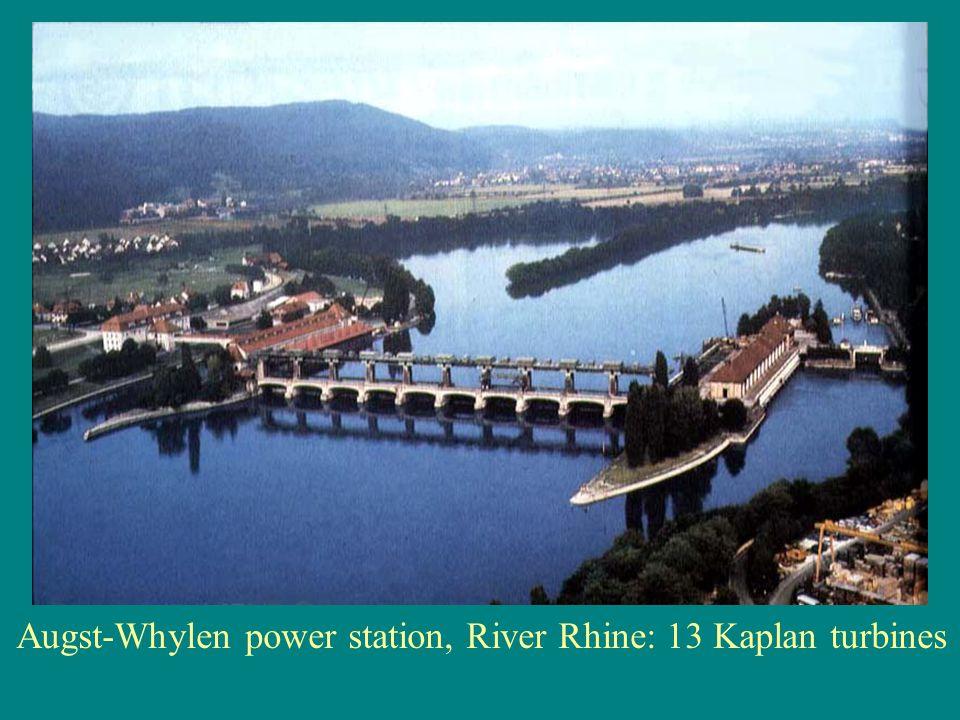 Augst-Whylen power station, River Rhine: 13 Kaplan turbines