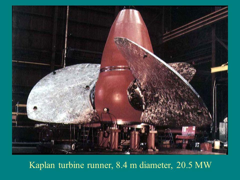 Kaplan turbine runner, 8.4 m diameter, 20.5 MW