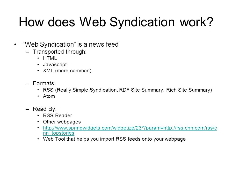 How does Web Syndication work.