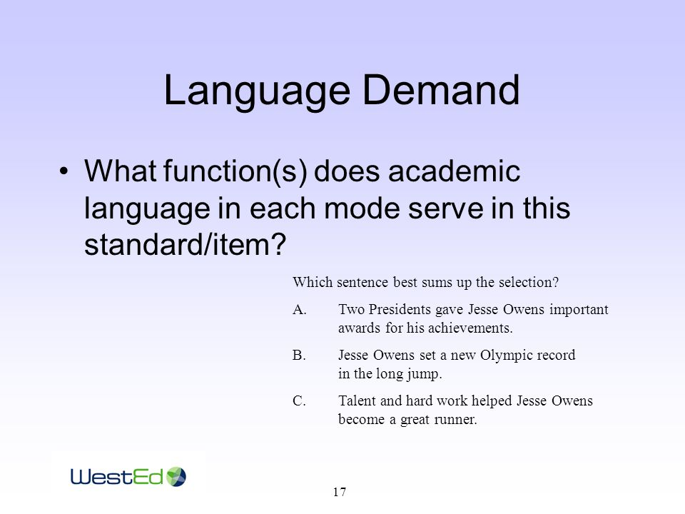 17 Language Demand What function(s) does academic language in each mode serve in this standard/item.