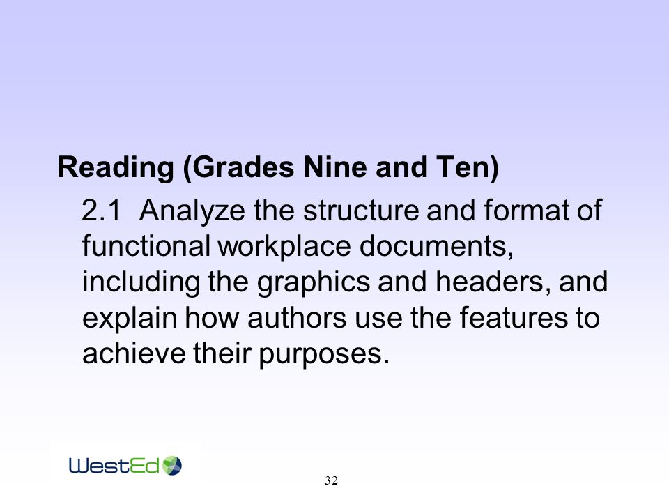 32 Reading (Grades Nine and Ten) 2.1 Analyze the structure and format of functional workplace documents, including the graphics and headers, and explain how authors use the features to achieve their purposes.