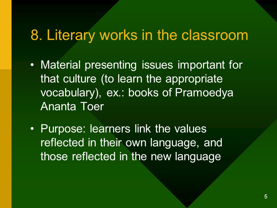 4 2. Literary work : definition Includes Prose, drama, novels, essays, short stories, plays, etc., Text which are read (books on tapes or CDs)