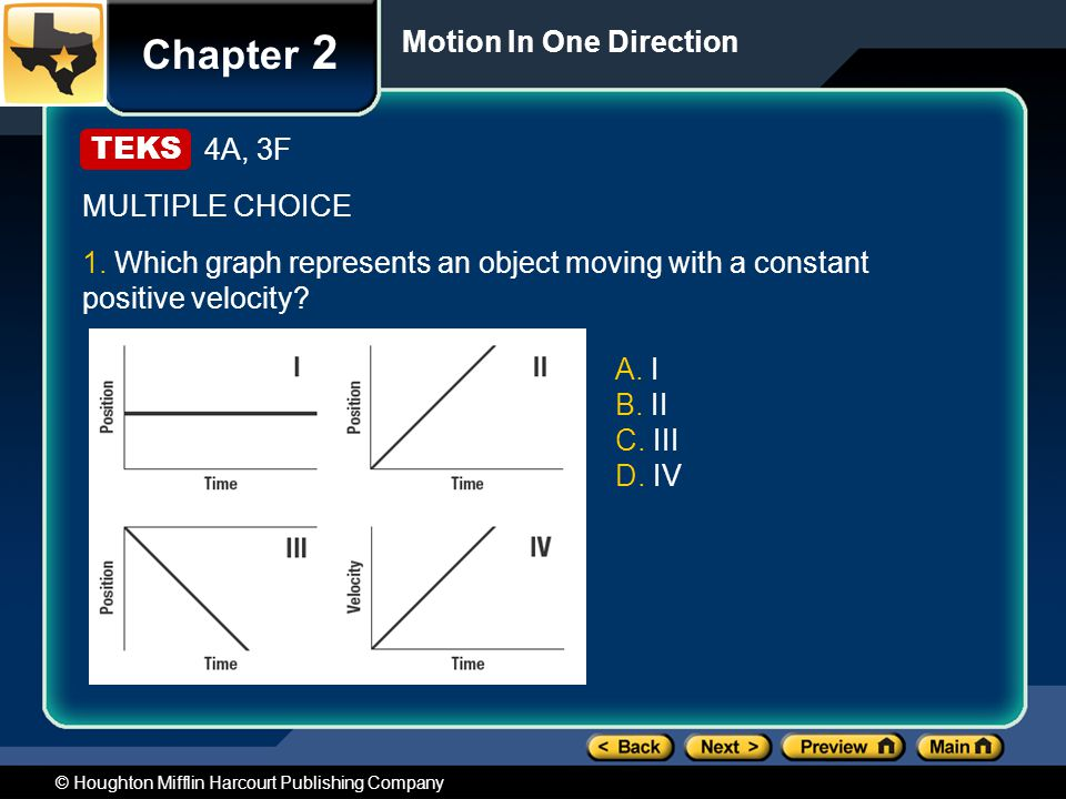 © Houghton Mifflin Harcourt Publishing Company Chapter 2 Motion In One Direction 4A, 3F MULTIPLE CHOICE 1.
