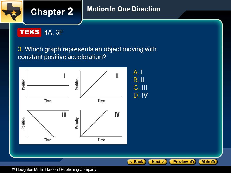 © Houghton Mifflin Harcourt Publishing Company Chapter 2 Motion In One Direction 4A, 3F 3.