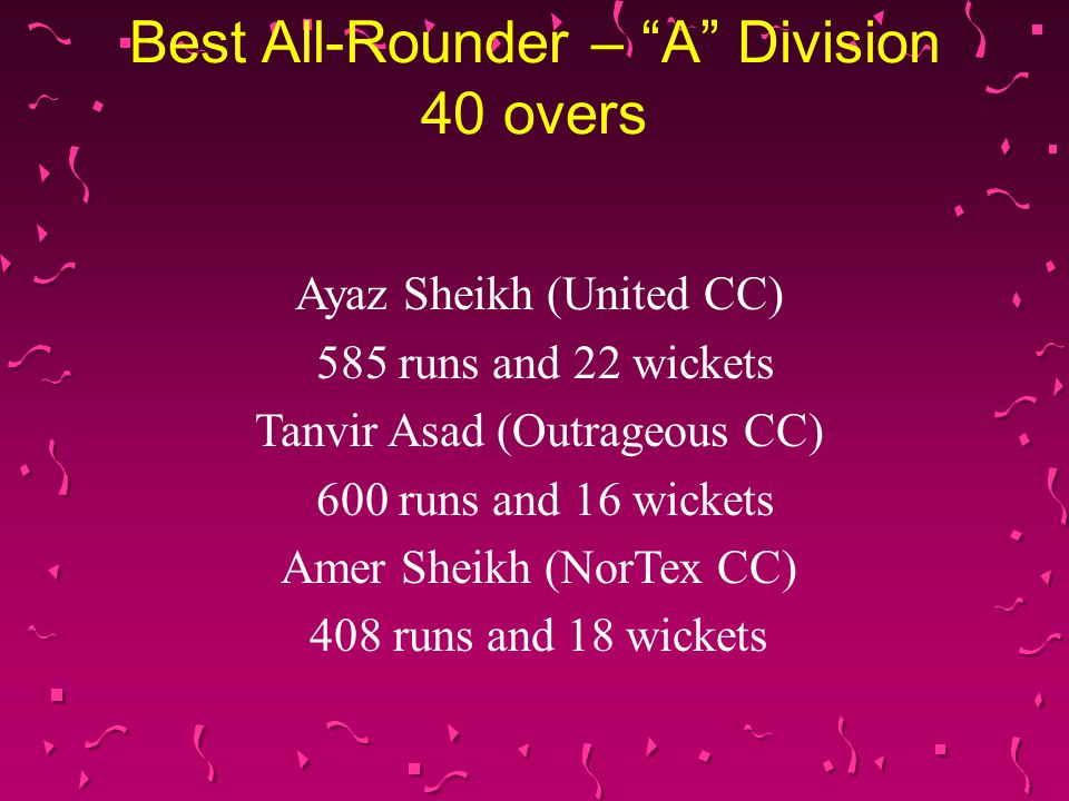 "Best All-Rounder – ""A"" Division 40 overs Ayaz Sheikh (United CC) 585 runs and 22 wickets Tanvir Asad (Outrageous CC) 600 runs and 16 wickets Amer Shei"