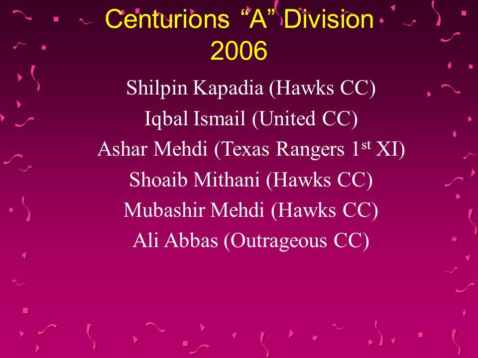 Centurions A Division 2006 Shilpin Kapadia (Hawks CC) Iqbal Ismail (United CC) Ashar Mehdi (Texas Rangers 1 st XI) Shoaib Mithani (Hawks CC) Mubashir Mehdi (Hawks CC) Ali Abbas (Outrageous CC)