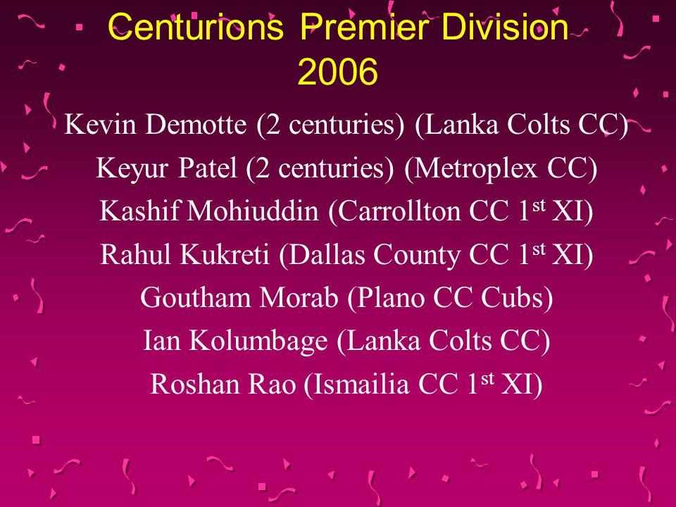 Centurions Premier Division 2006 Kevin Demotte (2 centuries) (Lanka Colts CC) Keyur Patel (2 centuries) (Metroplex CC) Kashif Mohiuddin (Carrollton CC 1 st XI) Rahul Kukreti (Dallas County CC 1 st XI) Goutham Morab (Plano CC Cubs) Ian Kolumbage (Lanka Colts CC) Roshan Rao (Ismailia CC 1 st XI)