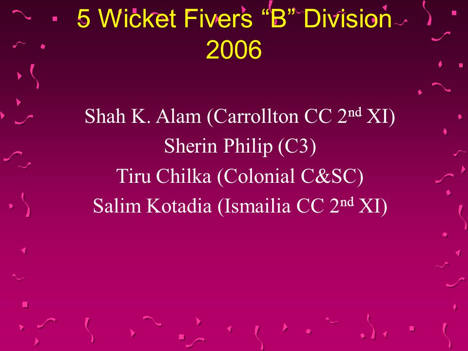 5 Wicket Fivers B Division 2006 Shah K.