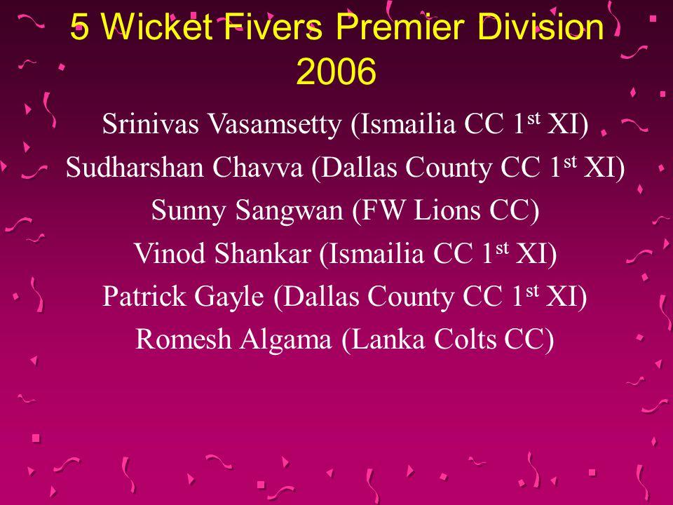 5 Wicket Fivers Premier Division 2006 Srinivas Vasamsetty (Ismailia CC 1 st XI) Sudharshan Chavva (Dallas County CC 1 st XI) Sunny Sangwan (FW Lions CC) Vinod Shankar (Ismailia CC 1 st XI) Patrick Gayle (Dallas County CC 1 st XI) Romesh Algama (Lanka Colts CC)