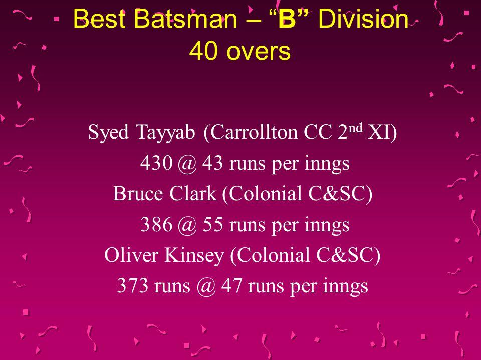 Best Batsman – B Division 40 overs Syed Tayyab (Carrollton CC 2 nd XI) 430 @ 43 runs per inngs Bruce Clark (Colonial C&SC) 386 @ 55 runs per inngs Oliver Kinsey (Colonial C&SC) 373 runs @ 47 runs per inngs