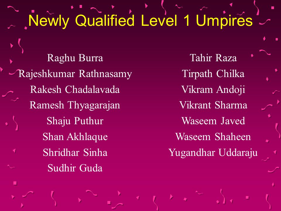 Newly Qualified Level 1 Umpires Raghu Burra Rajeshkumar Rathnasamy Rakesh Chadalavada Ramesh Thyagarajan Shaju Puthur Shan Akhlaque Shridhar Sinha Sud