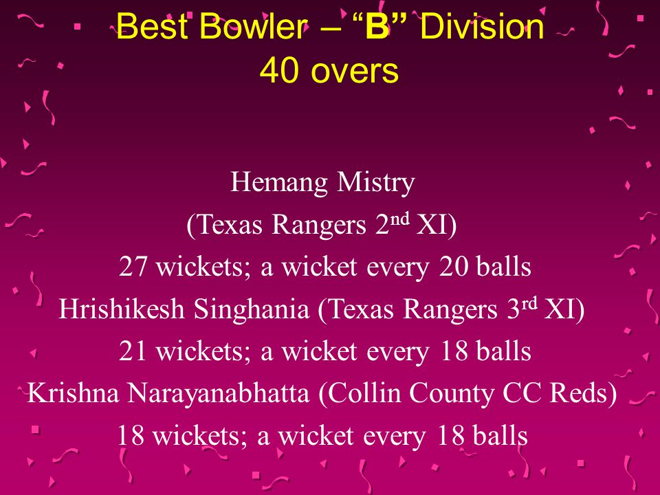 Best Bowler – B Division 40 overs Hemang Mistry (Texas Rangers 2 nd XI) 27 wickets; a wicket every 20 balls Hrishikesh Singhania (Texas Rangers 3 rd XI) 21 wickets; a wicket every 18 balls Krishna Narayanabhatta (Collin County CC Reds) 18 wickets; a wicket every 18 balls