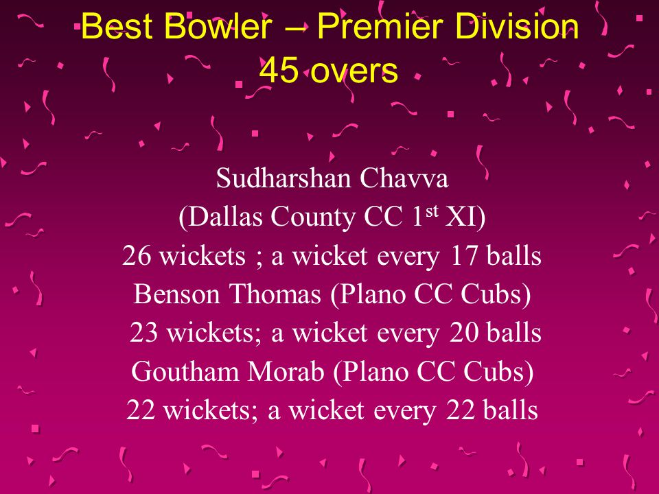 Best Bowler – Premier Division 45 overs Sudharshan Chavva (Dallas County CC 1 st XI) 26 wickets ; a wicket every 17 balls Benson Thomas (Plano CC Cubs) 23 wickets; a wicket every 20 balls Goutham Morab (Plano CC Cubs) 22 wickets; a wicket every 22 balls