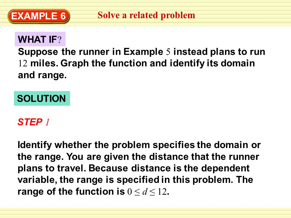 SOLUTION EXAMPLE 6 Solve a related problem WHAT IF ? Suppose the runner in Example 5 instead plans to run 12 miles. Graph the function and identify it