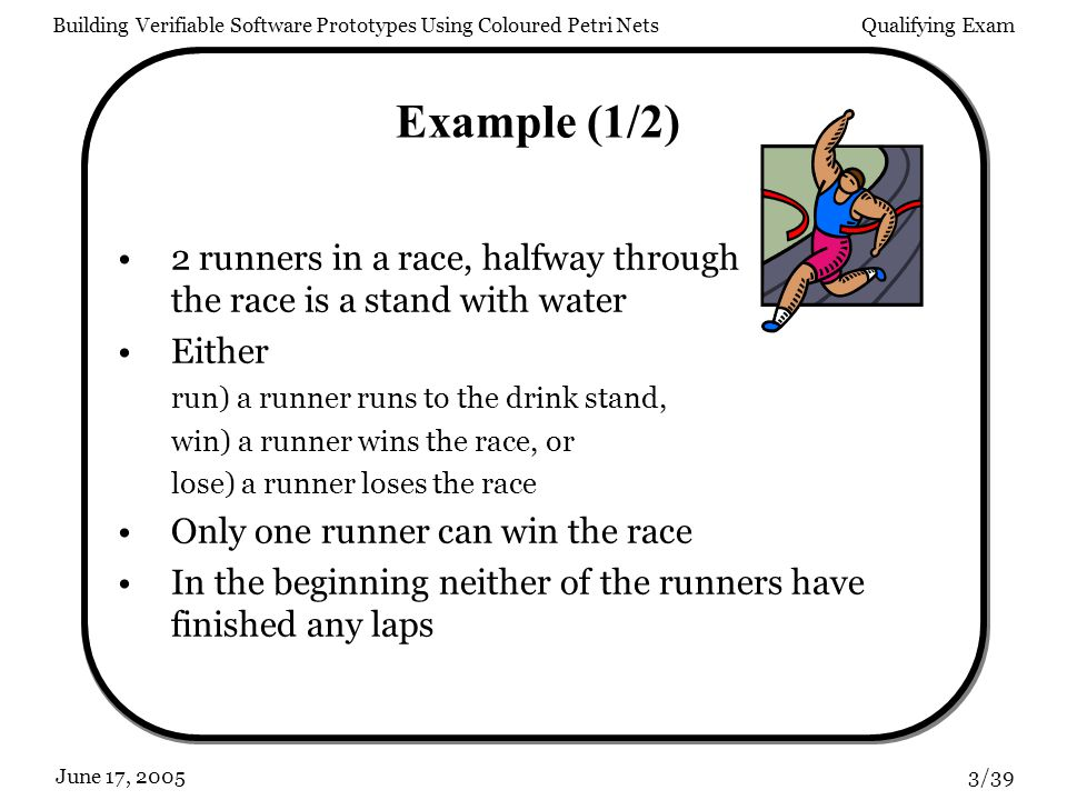 Building Verifiable Software Prototypes Using Coloured Petri NetsQualifying Exam 3/39June 17, 2005 Example (1/2) 2 runners in a race, halfway through the race is a stand with water Either run) a runner runs to the drink stand, win) a runner wins the race, or lose) a runner loses the race Only one runner can win the race In the beginning neither of the runners have finished any laps