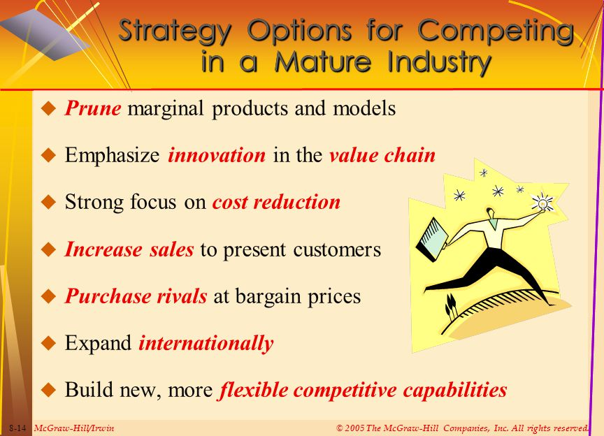 McGraw-Hill/Irwin© 2005 The McGraw-Hill Companies, Inc. All rights reserved. 8-14 Strategy Options for Competing in a Mature Industry  Prune marginal