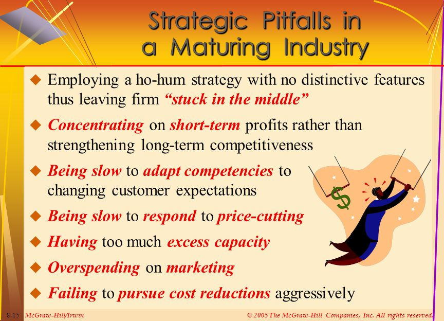 McGraw-Hill/Irwin© 2005 The McGraw-Hill Companies, Inc. All rights reserved. 8-15 Strategic Pitfalls in a Maturing Industry  Employing a ho-hum strat
