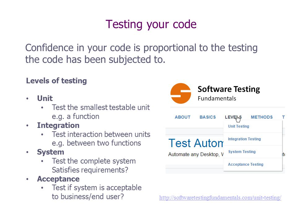 Testing your code Confidence in your code is proportional to the testing the code has been subjected to.