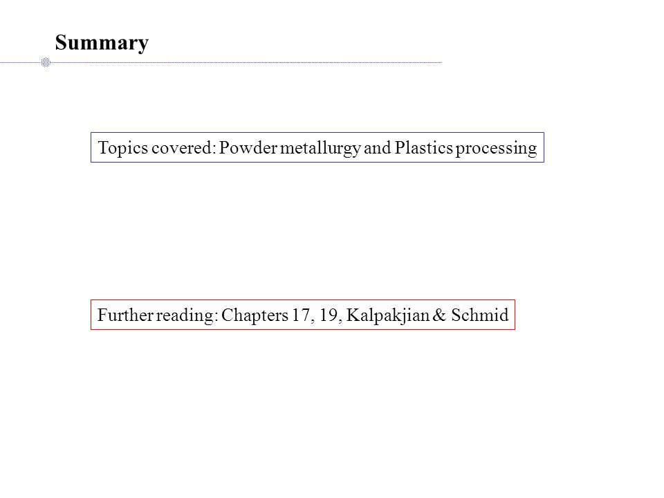 Summary Topics covered: Powder metallurgy and Plastics processing Further reading: Chapters 17, 19, Kalpakjian & Schmid