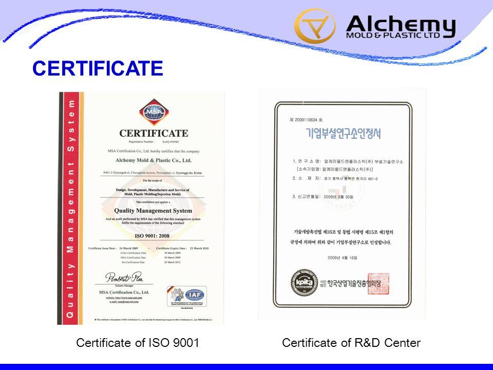 CERTIFICATE Certificate of ISO 9001Certificate of R&D Center