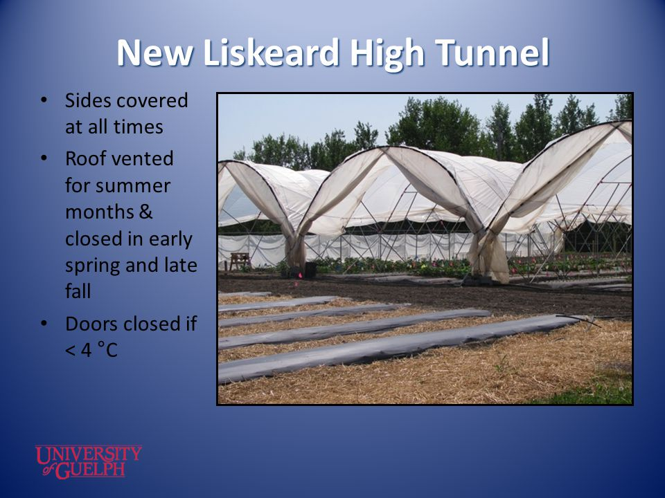 New Liskeard High Tunnel Sides covered at all times Roof vented for summer months & closed in early spring and late fall Doors closed if < 4 °C