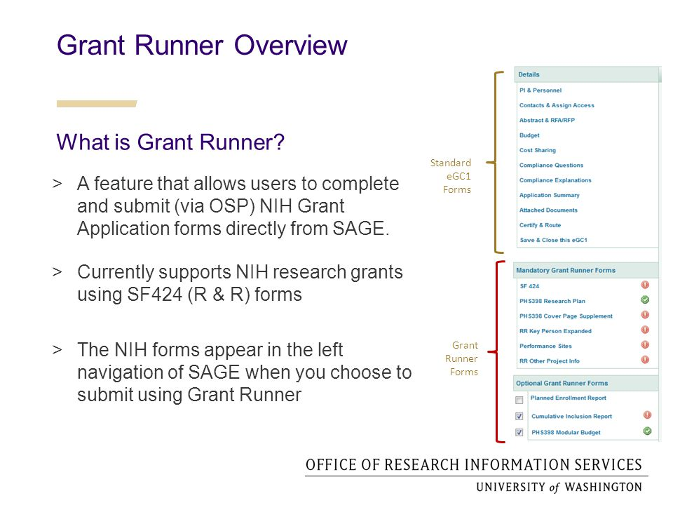 Grant Runner Overview  A feature that allows users to complete and submit (via OSP) NIH Grant Application forms directly from SAGE.