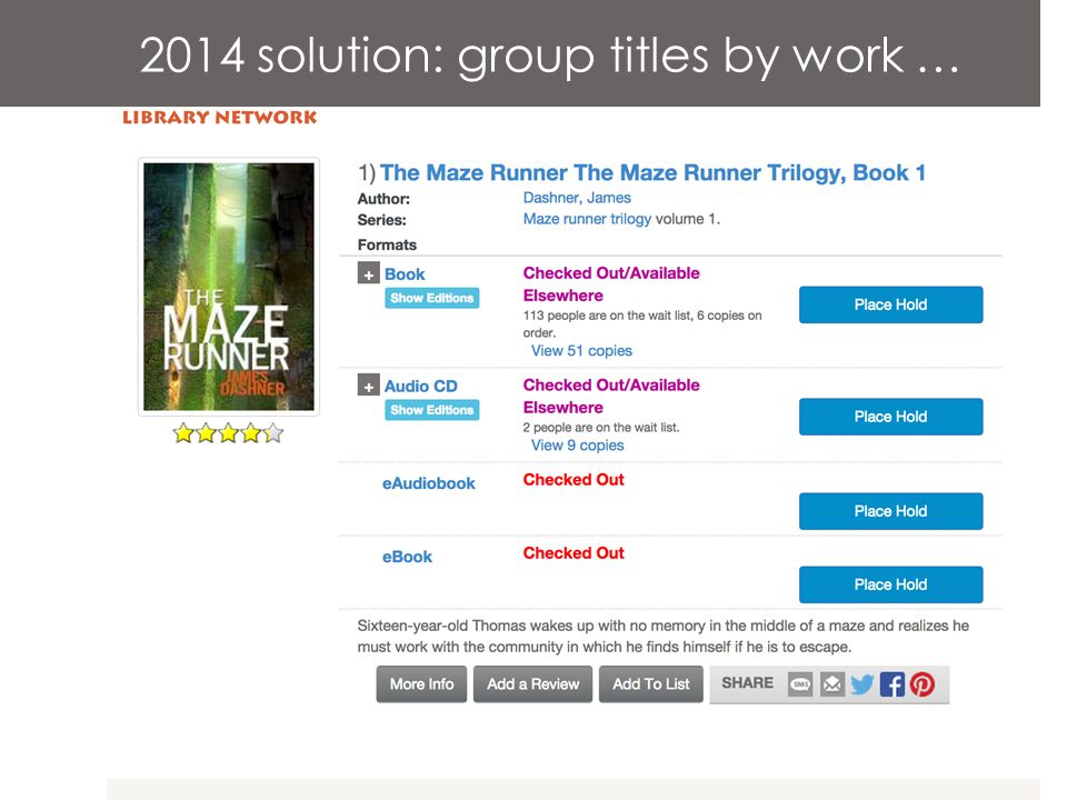2014 solution: group titles by work …