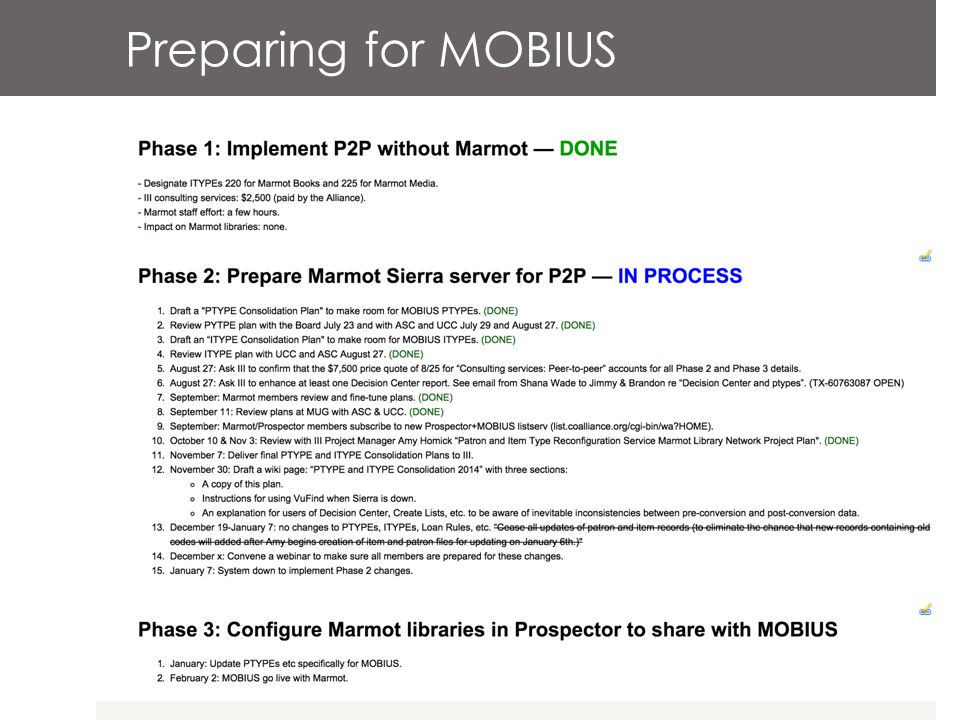 Preparing for MOBIUS