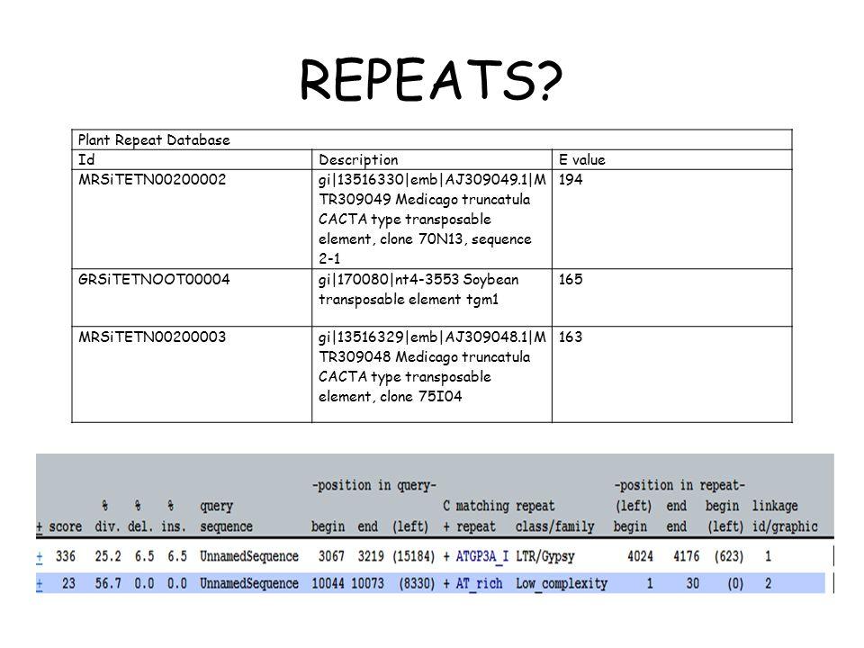 REPEATS? Plant Repeat Database IdDescriptionE value MRSiTETN00200002 gi|13516330|emb|AJ309049.1|M TR309049 Medicago truncatula CACTA type transposable