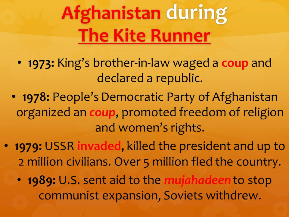 Afghanistan during The Kite Runner 1973: King's brother-in-law waged a coup and declared a republic.